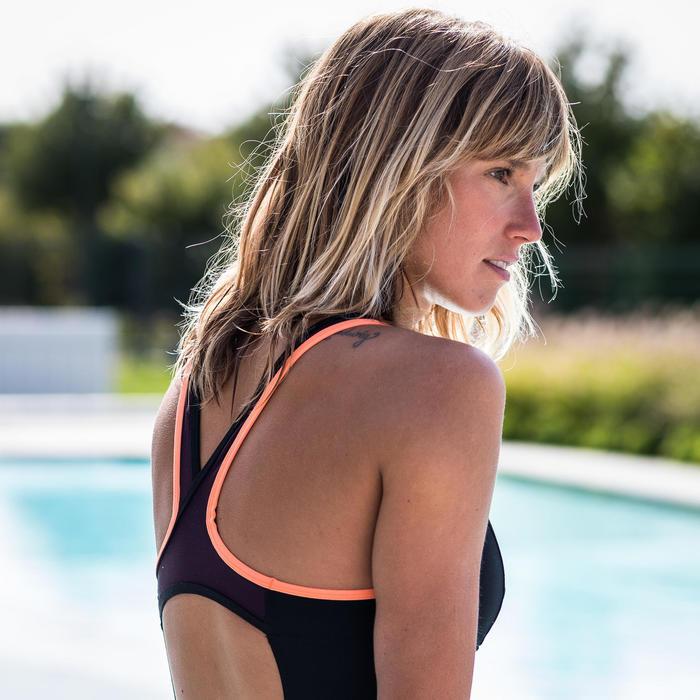 Badpak voor aquafitness Lena zwart/bordeaux