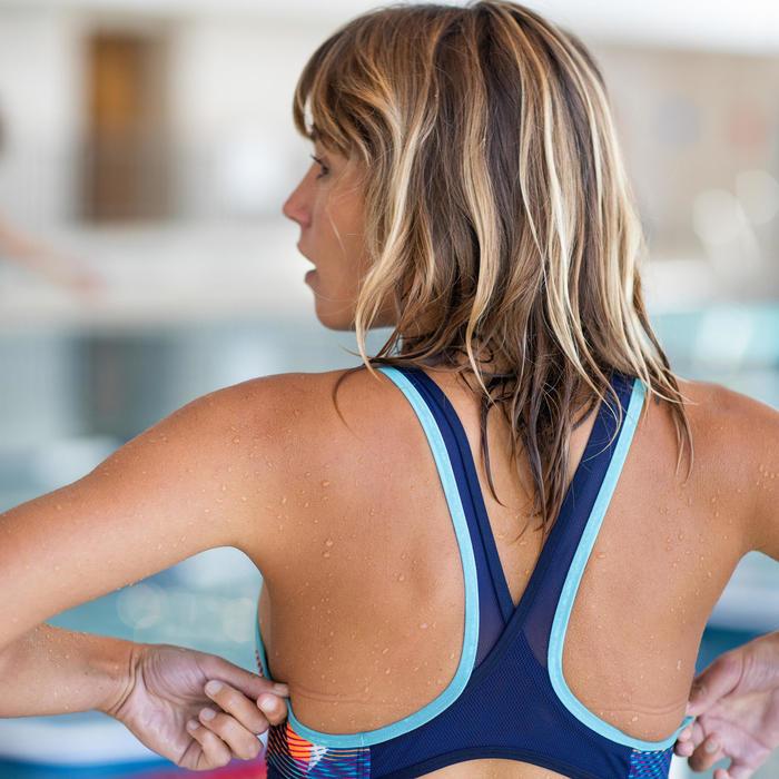 Maillot de bain une pièce d'Aquafitness femme Lena vib bleu