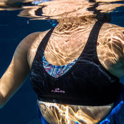 Haut de maillot de bain d'Aquafitness femme Lou noir mem