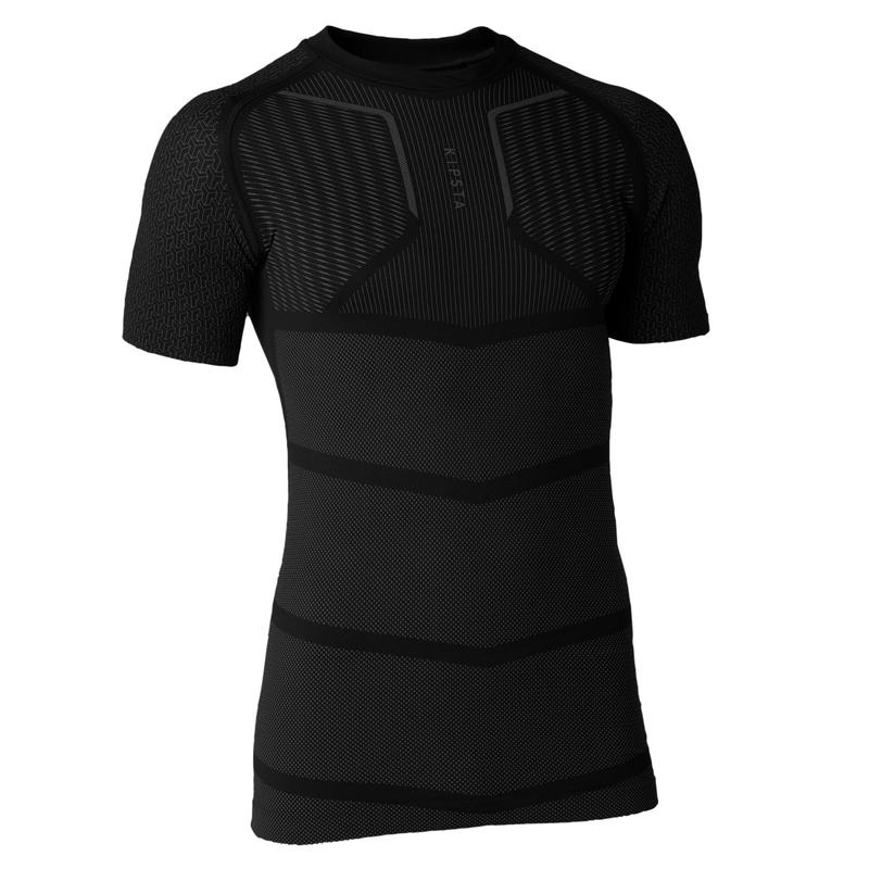 Kids' Short-Sleeved Football Base Layer Top Keepdry 500 - Black