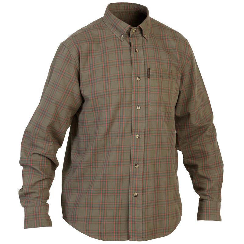 Ademend overhemd met lange mouwen voor jagen 100 geruit groen/rood