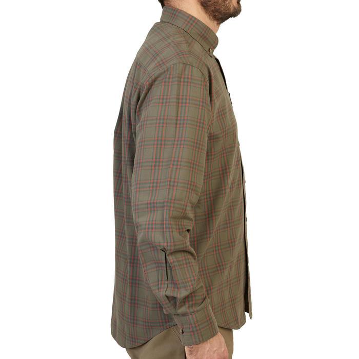 Chemise chasse manches longues à carreaux vert et rouge