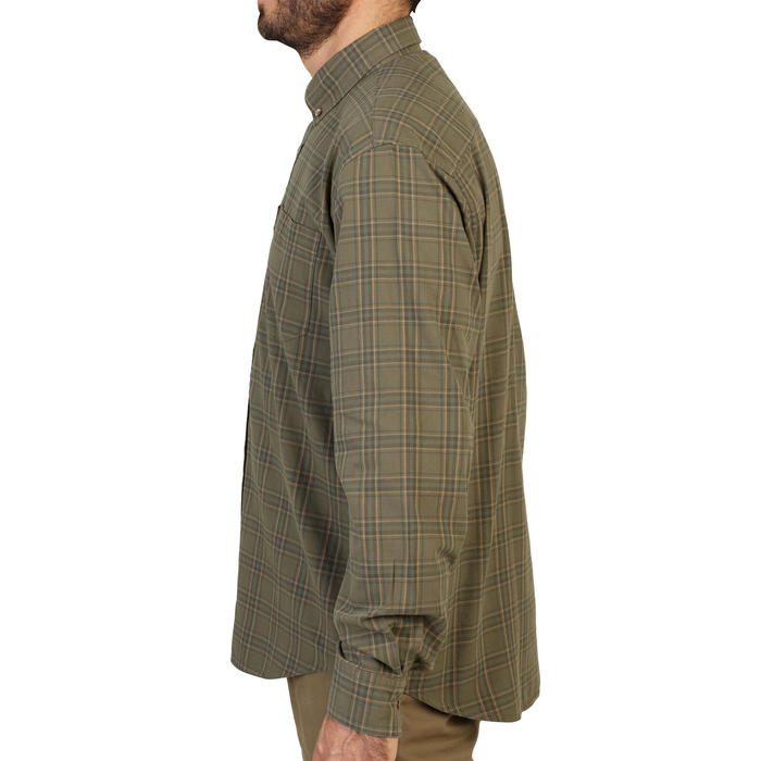 Camisa de caça manga comprida xadrez verde e bege