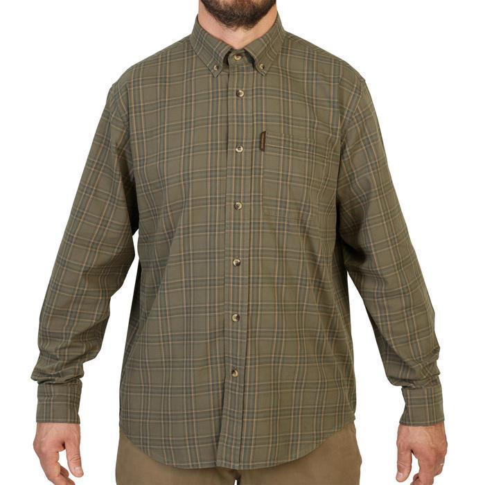 Overhemd voor de jacht groen en beige geruit