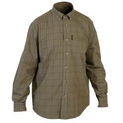 Chemise chasse manches longues respirant 100 à carreaux vert et beige