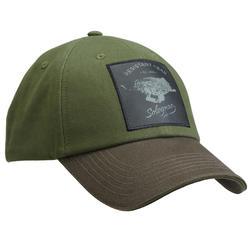 Casquette chasse 100 Brodée Sanglier Vert et Marron
