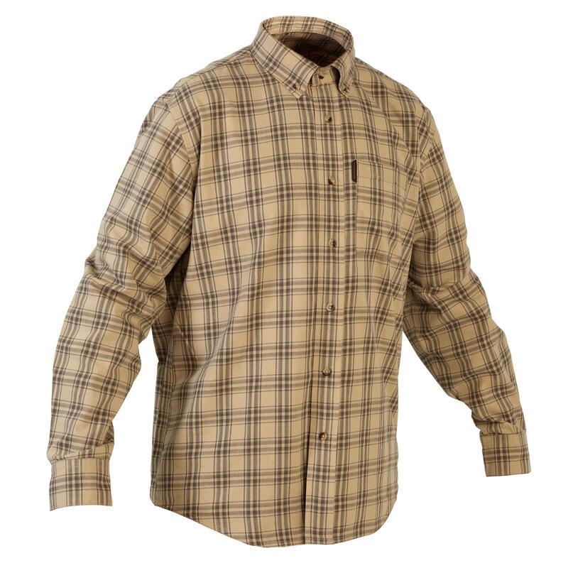 Chemise chasse coton manches longues respirant 100 à carreaux beige.