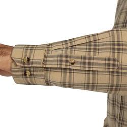 Chemise chasse manches longues 100 à carreaux beige.