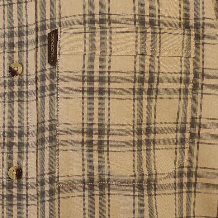 Camisa de Caça Manga Comprida 100 Xadrez Bege.