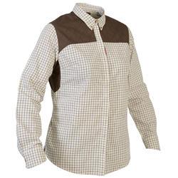 Camicia caccia donna 500 scacchi beige