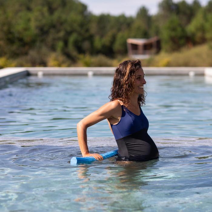 Maillot de bain grossesse 1 pièce femme d'aquagym Aya noir bleu