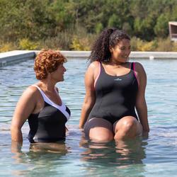 Badpak dames voor aquagym Mika zwart/roze