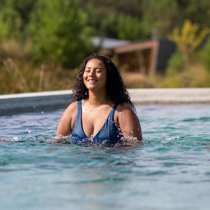 Maillot de bain une pièce femme gainant d'Aquagym Mia noir bleu