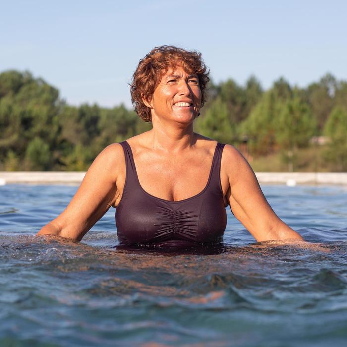 Corrigerend badpak voor aquagym voor dames Mary bordeaux