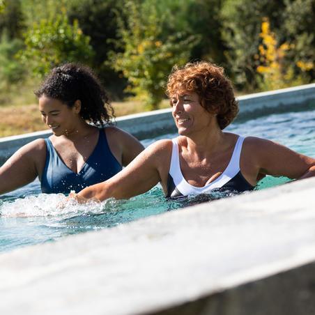 Traje de baño Mujer Deportivo Aquagym Nabaiji Karli Boo Moldeador Negro Blanco
