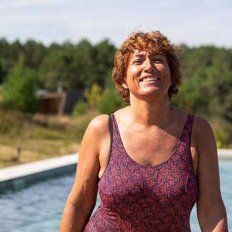 Women's aquafitness one-piece Mika Atch swimsuit - Orange