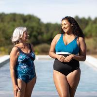 Women's aquafitness one-piece body-sculpting Mia swimsuit - Black / Blue