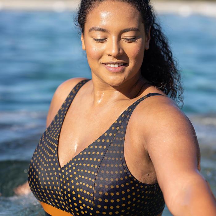 Maillot de bain une pièce femme gainant d'Aquagym Mia Dot bleu Bonnet D/E