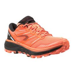 Calçado de Trail Running Mulher MT CUSHION Coral/Preto