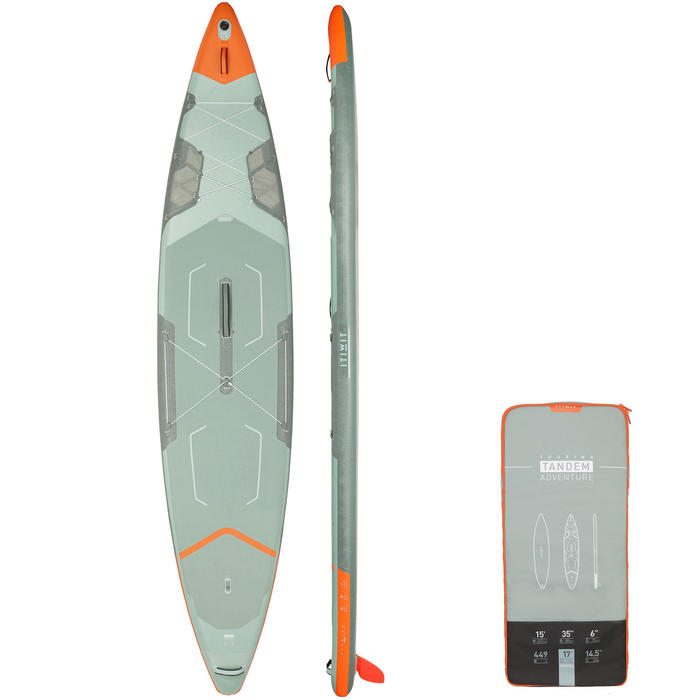 "Tabla de Stand Up Paddle X500 Hinchable de Travesía Tándem Itiwit/ 15""-35' Verde"