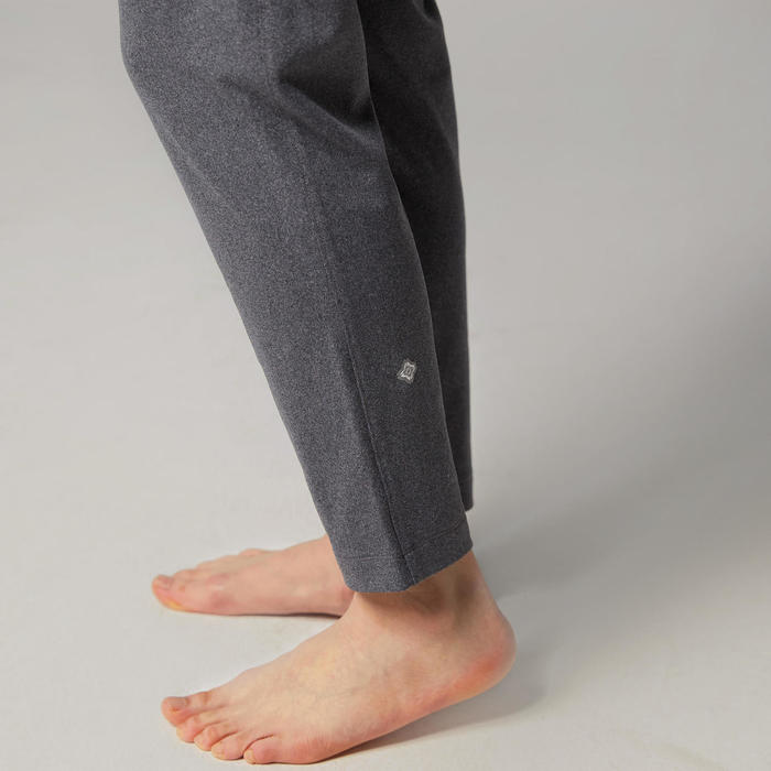 女款立體剪裁室內動態瑜珈長褲 - 黑色/灰色