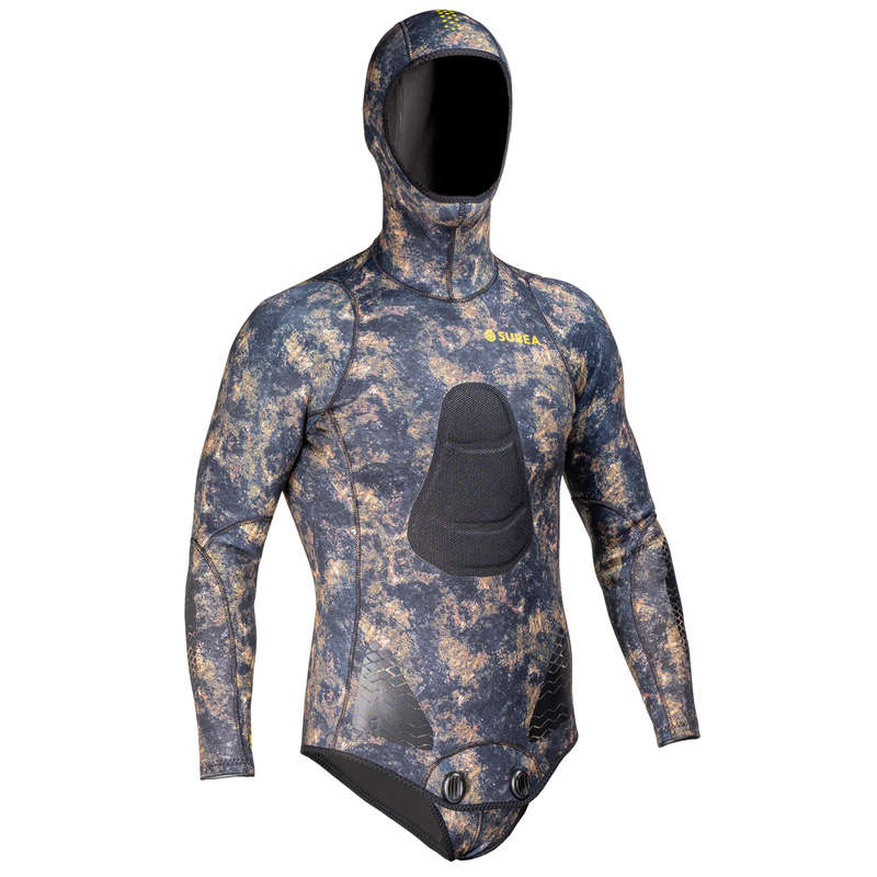 SPEARFISHING SUITS >25° Potápění a šnorchlování - BUNDA SPF500 3 MM MASKOVACÍ SUBEA - Freediving a podmořský rybolov
