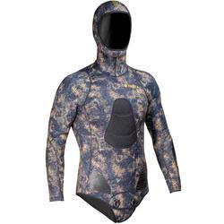 Veste chasse sous-marine avec pad camouflage kaki néoprène refendu 5mm SPF500