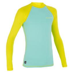 兒童款長袖抗UV上衣100-藍色/黃色