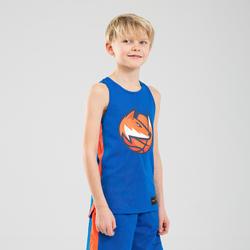 Boys'/Girls' Intermediate Reversible Basketball Jersey T500R - Blue/Fox Orange