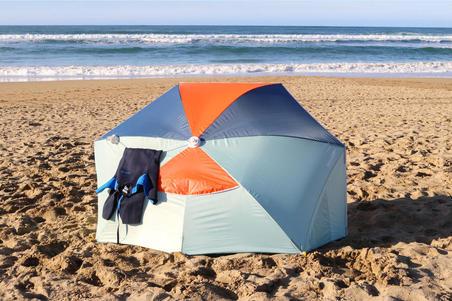 3-person sun Shelter beach Parasol UPF50+ Iwiko 180 - mint grey orange