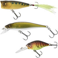 PLUG BAIT POPPER MINNOW LURE FISHING PERCH KIT 3 PB