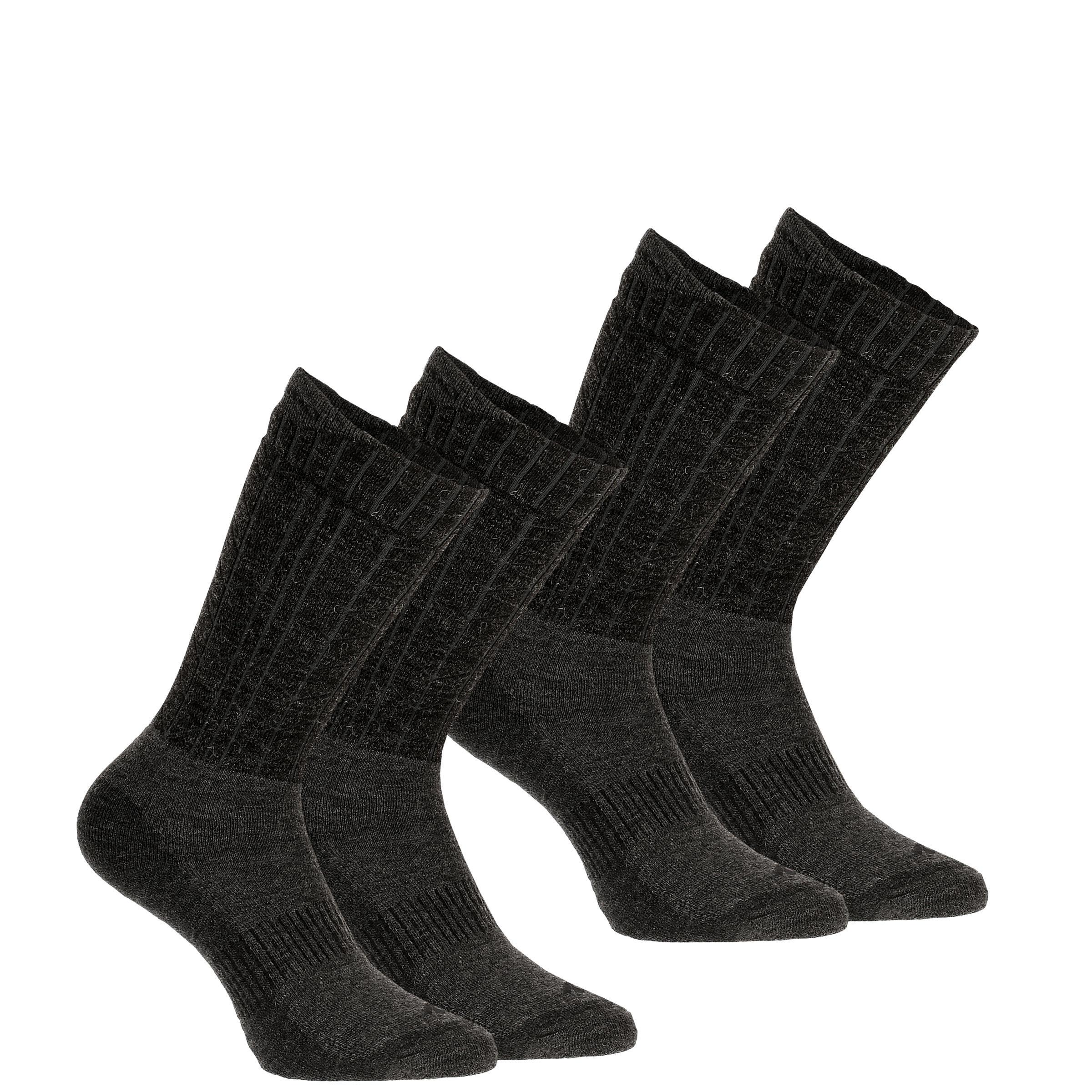 SH500 Ultra-warm Mid Adult Snow Hiking Socks - Black.