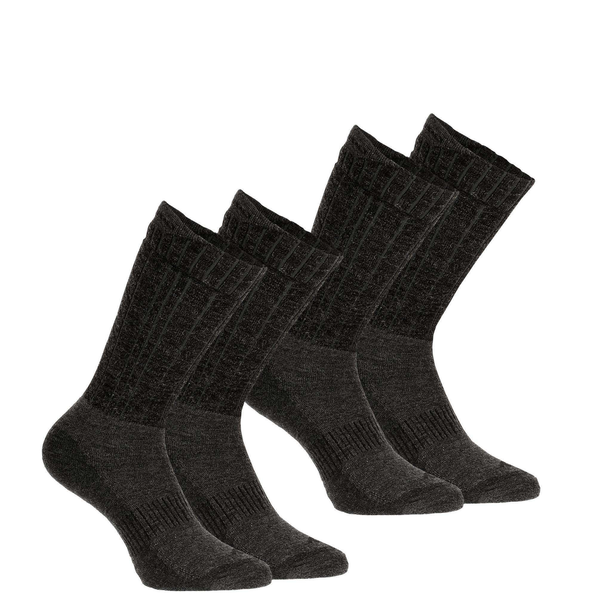 Chaussettes chaudes de randonnée adulte SH500 ultra-warm mid noires X 2 paires - Quechua