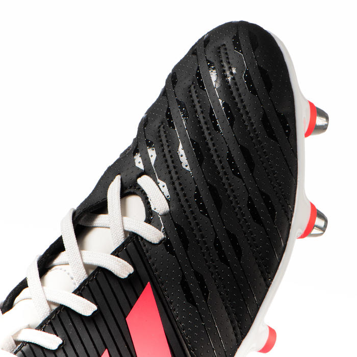 Chaussure de rugby terrain gras hybride Malice SG adulte noir Adidas
