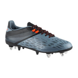 CHAUSSURES DE RUGBY HYBRIDE TERRAIN GRAS HOMME ADVANCE R500 SG GRIS ORANGE