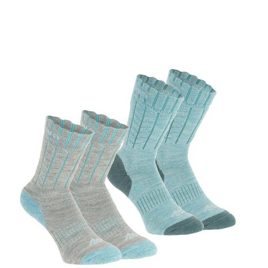 2 paar sokken Arpenaz Warm voor winterse trektochten, grijs en koraal - 184107