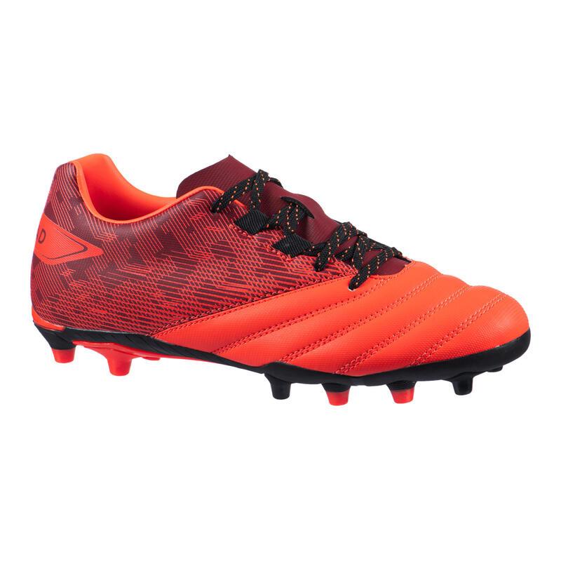 Rugbyschoenen met vaste noppen voor droog terrein kinderen R500 rood