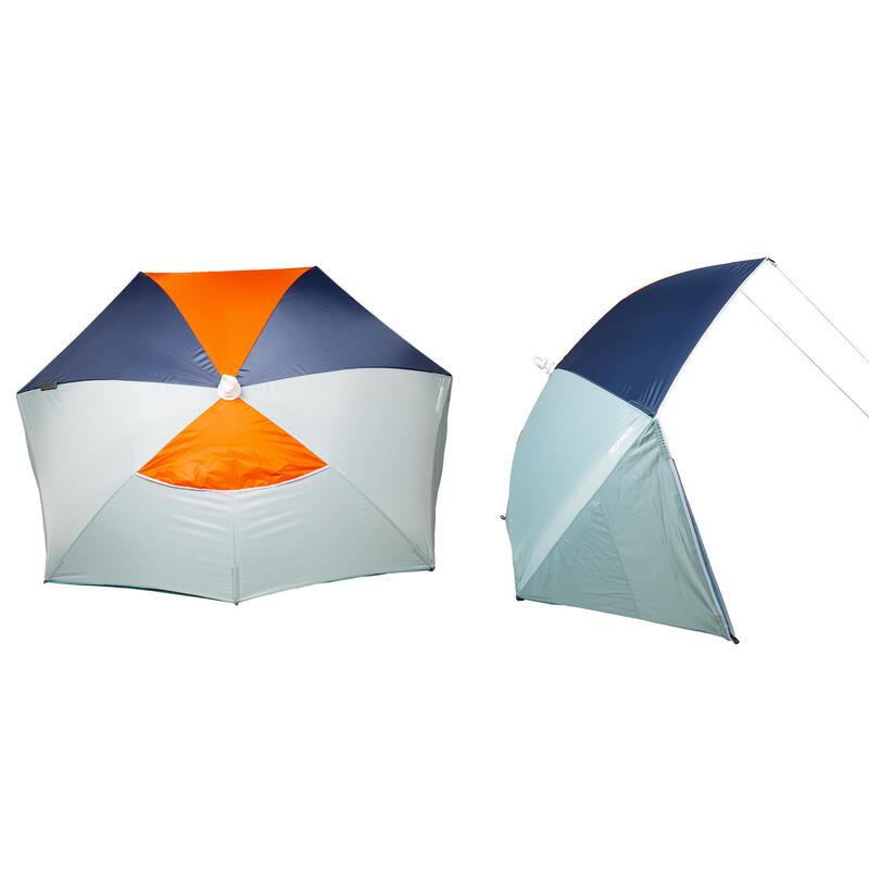 Umbrelă plajă 180 FPS50+ 3 locuri Verde-Portocaliu