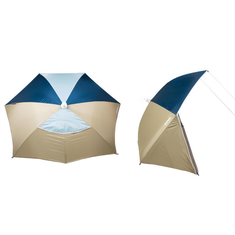 3-person sun Shelter beach Parasol UPF50+ Iwiko 180 - beige mint green