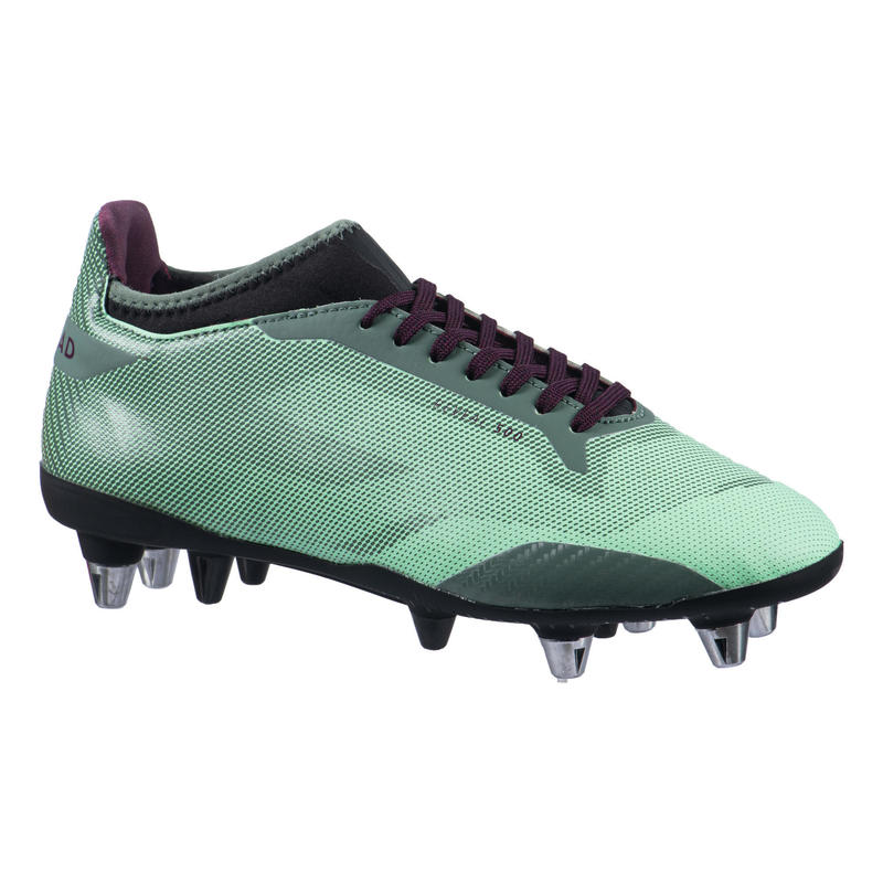 Women's Hybrid Mixed Ground Rugby Boots Reveal R500 SG - Green