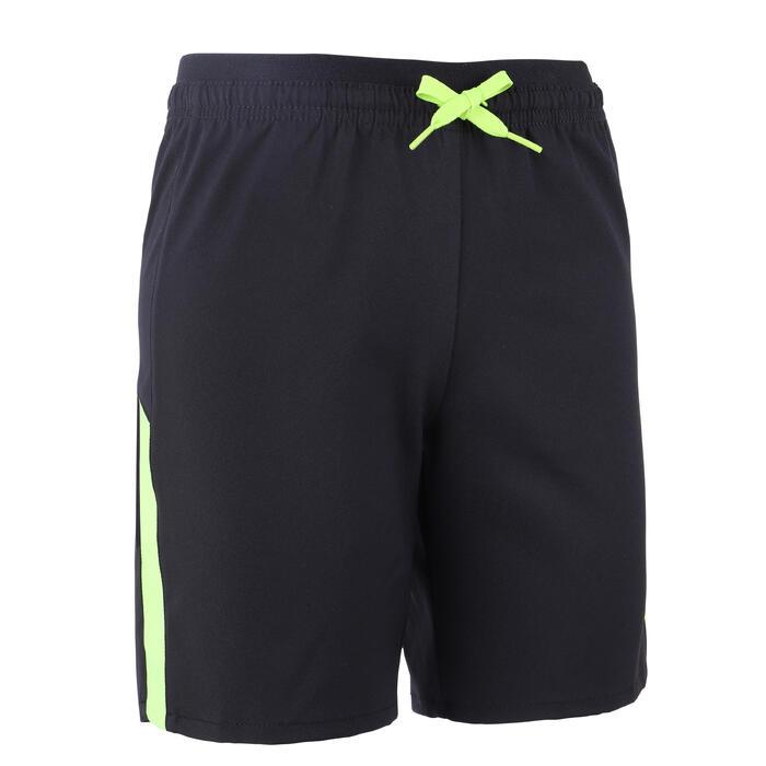 兒童款足球短褲F520-黑色配螢光綠