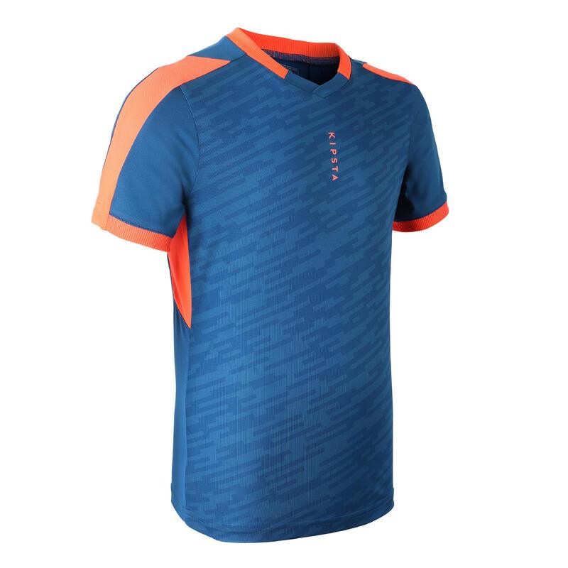 Maillot de football enfant manche courte F520 bleu et orange