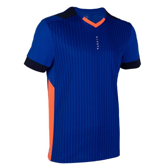成人款足球上衣F500-藍橘配色