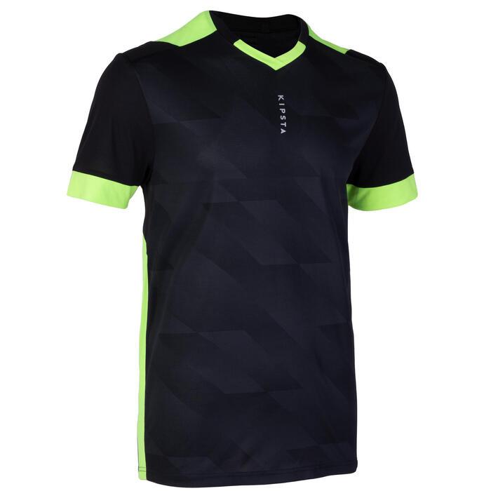 成人款足球上衣F500-黑色與螢光黃配色