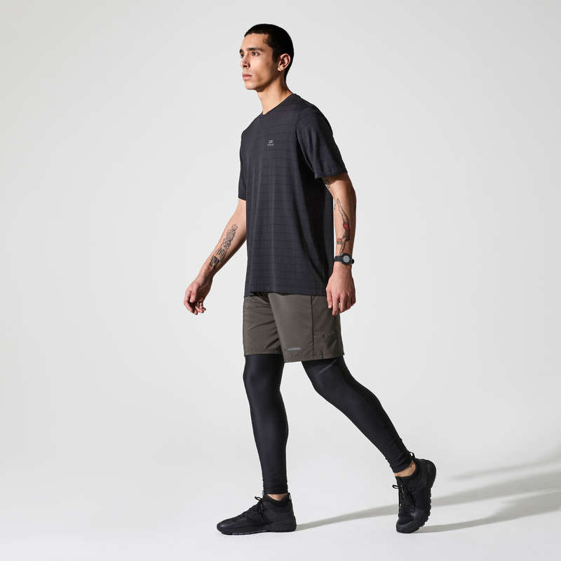REGULAR MAN JOG WARM/MILD WTHR CLOTHES Clothing - RUN DRY+ FEEL T-SHIRT BLACK KALENJI - Tops