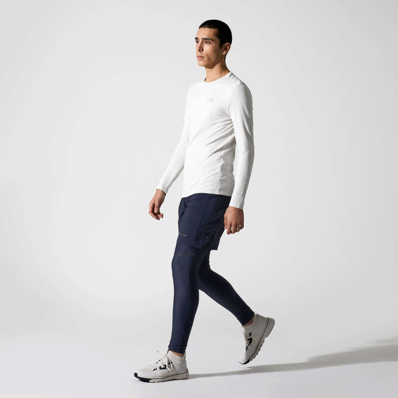 REGULAR MAN JOG WARM/MILD WTHR CLOTHES Clothing - RUN DRY+ ML T-SHIRT BEIGE KALENJI - Tops