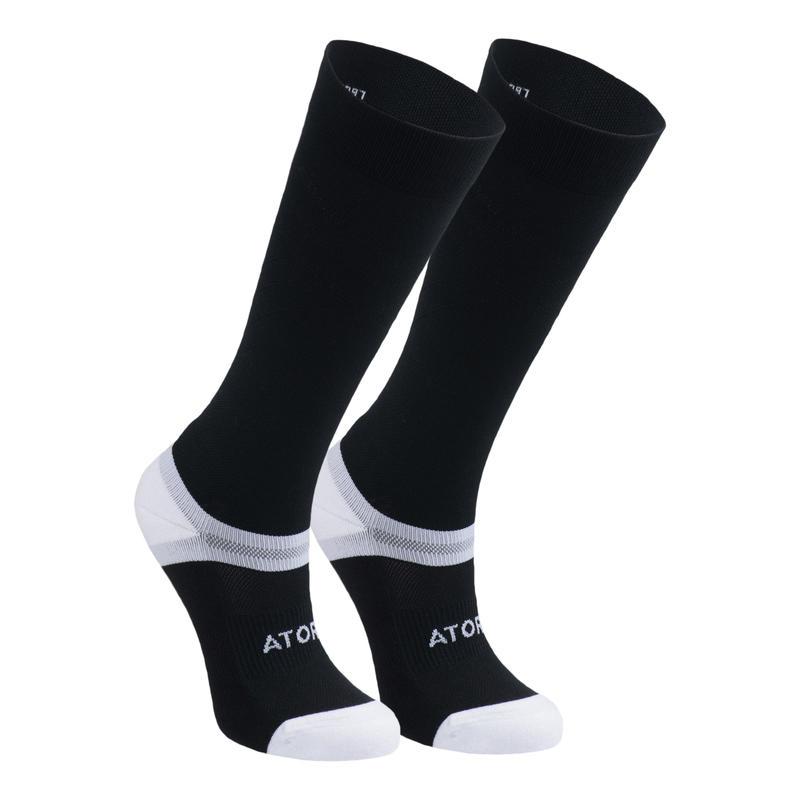 Chaussettes de handball compressives hautes adulte H900 noir/blanc
