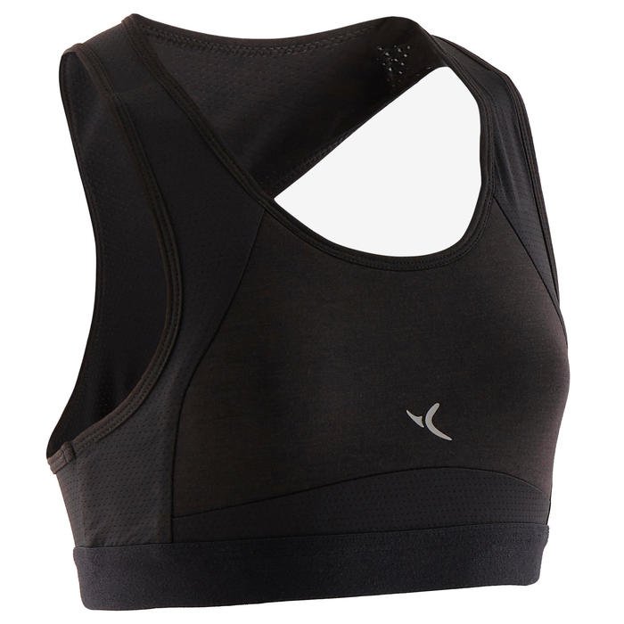 Ademend sporttopje voor gym meisjes 500 katoen padding zwart