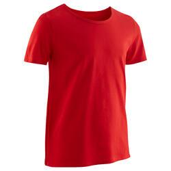 T-shirt met korte mouwen voor gym jongens 100 rood