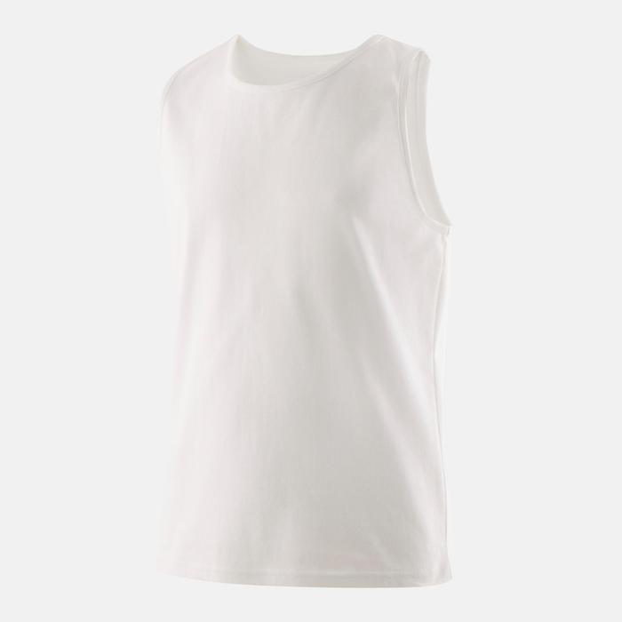 Mouwloos shirt voor gym jongens 100 wit